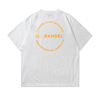 BANDEL Tシャツ Circle-Logo Short Sleeve T BAN-T023 White x Neon Orange