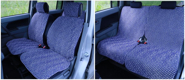 藍ドット柄軽自動車シートカバー(汎用)