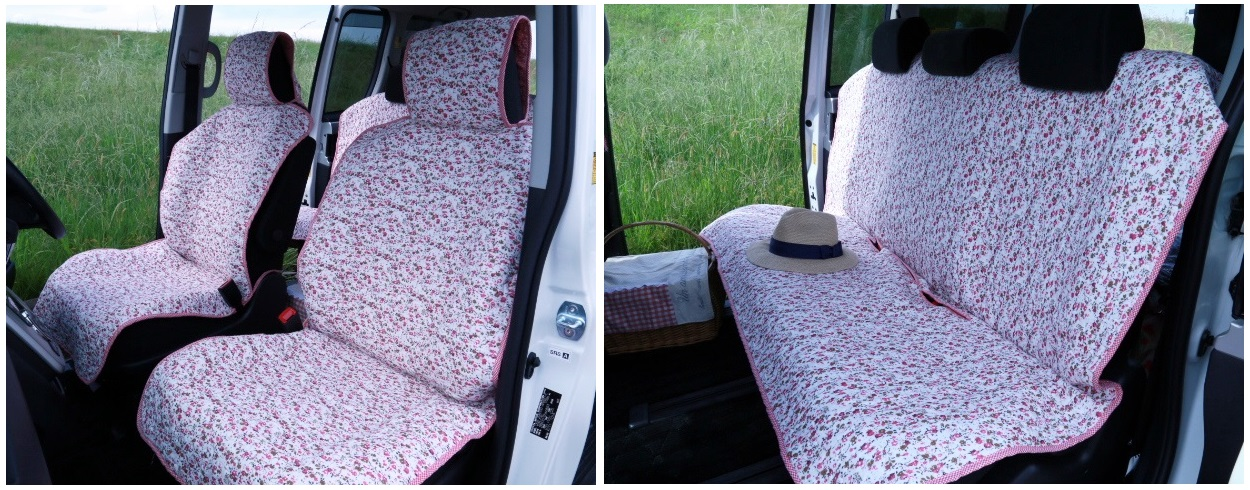 可愛いピンクの花柄自動車シートカバー(汎用)