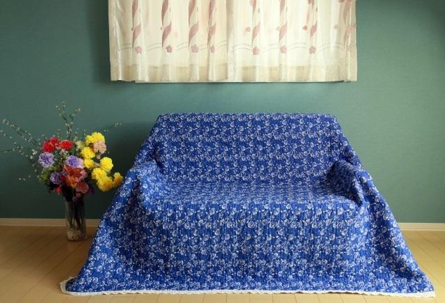 北欧風藍花柄マルチカバー